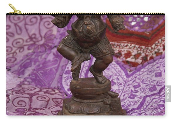Bronze Ganesha Dancing, On Purple Carry-all Pouch
