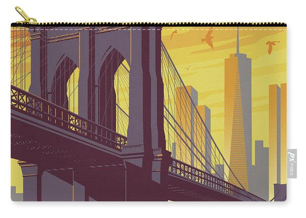 Brooklyn Bridge Poster - New York Vintage Carry-all Pouch