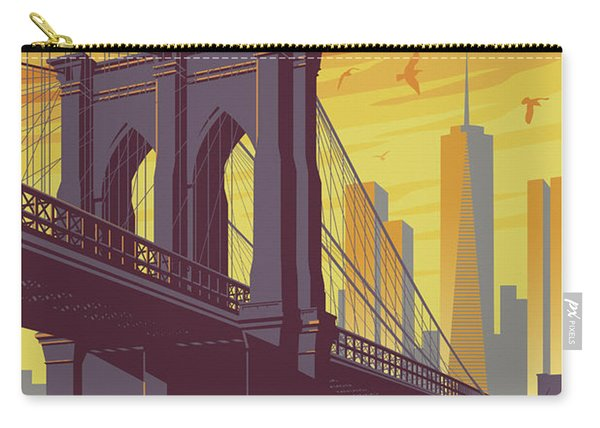 Brooklyn Poster - Vintage Brooklyn Bridge Carry-all Pouch