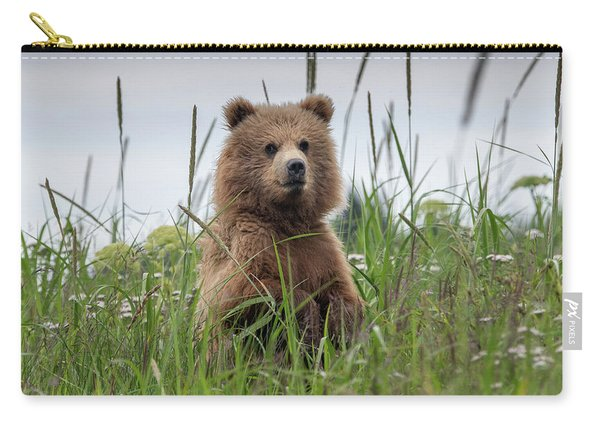 Brown Bear Cub In A Meadow Carry-all Pouch