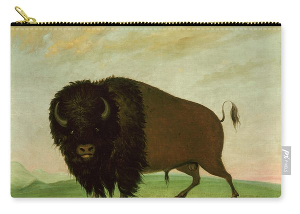 Buffalo Bull, Grazing On The Prairie Carry-all Pouch