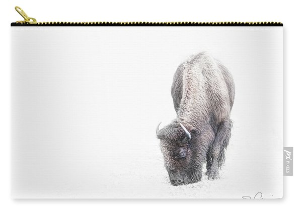 Buffalo In White Carry-all Pouch