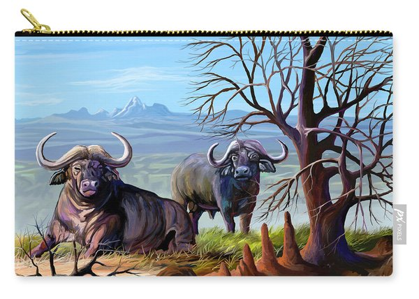 Buffaloes And The Mountain Carry-all Pouch