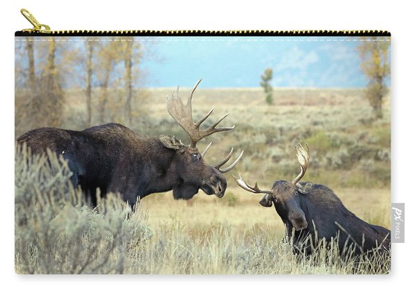 Carry-all Pouch featuring the photograph Bull Moose Challenge by Jean Clark