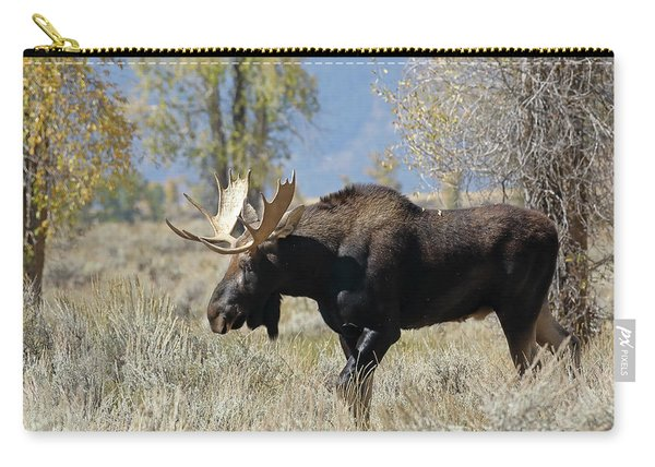 Carry-all Pouch featuring the photograph Bull Moose In Sage by Jean Clark