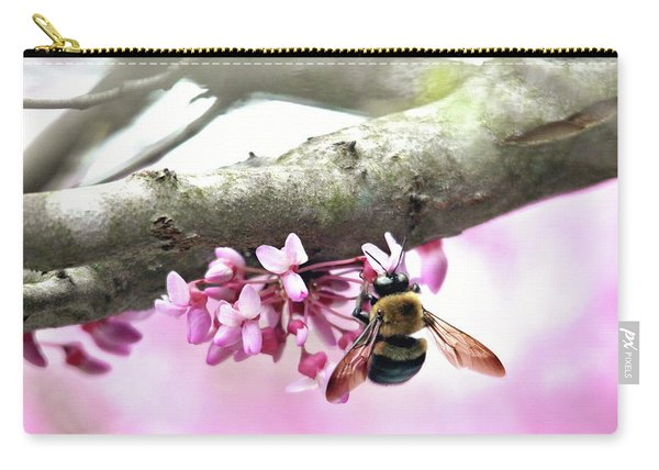 Bumblebee On Redbud Flower Carry-all Pouch