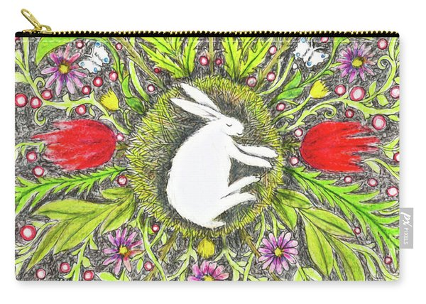 Bunny Nest With Red Flowers And White Butterflies Carry-all Pouch