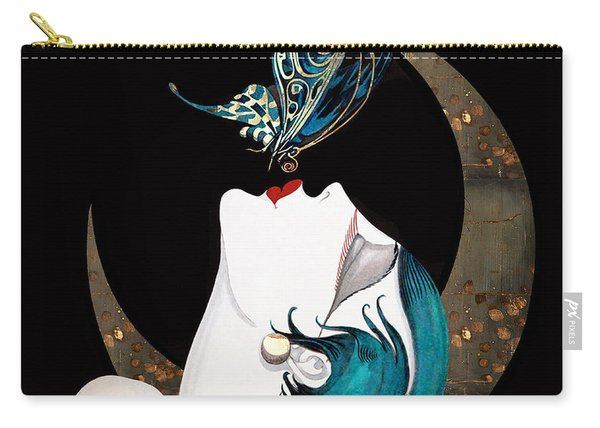 Butterfly Kiss French Art Deco Woman Remix Carry-all Pouch