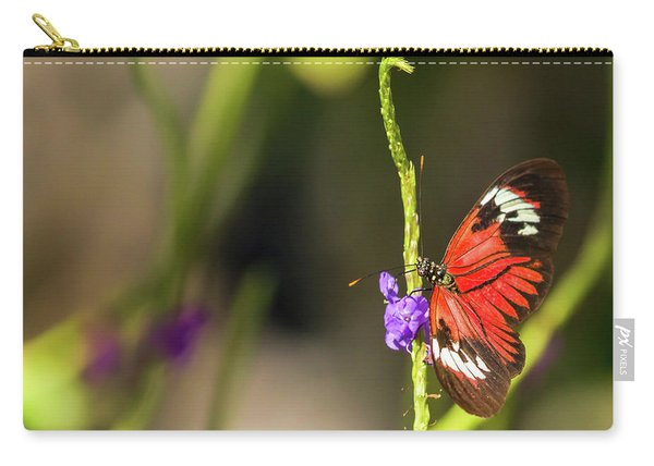 Butterfly Landing On Purple Flower Carry-all Pouch