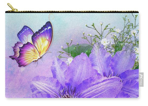Butterfly On Clematis Carry-all Pouch
