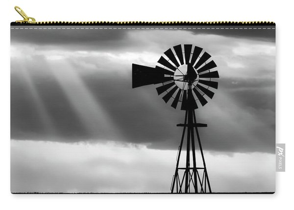Carry-all Pouch featuring the photograph Bw Windmill And Crepuscular Rays -01 by Rob Graham