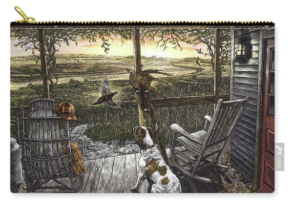 Carry-all Pouch featuring the drawing Cabin Fever by Clint Hansen