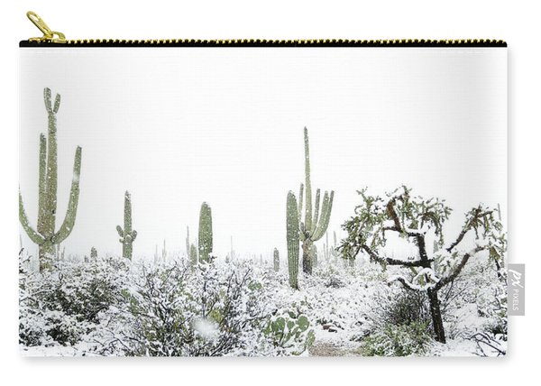 Carry-all Pouch featuring the photograph Cactus In The Snow by Jean Clark