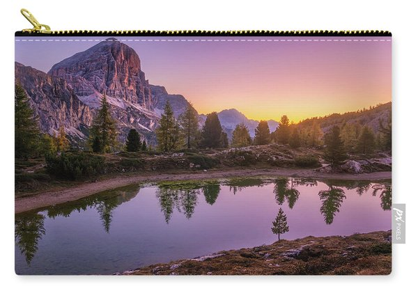 Carry-all Pouch featuring the photograph Calm Morning On Lago Di Limides by Dmytro Korol