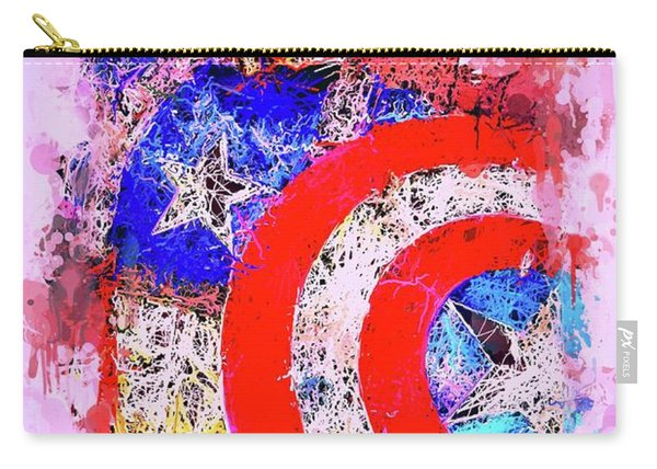 Carry-all Pouch featuring the mixed media Captain America Watercolor by Al Matra
