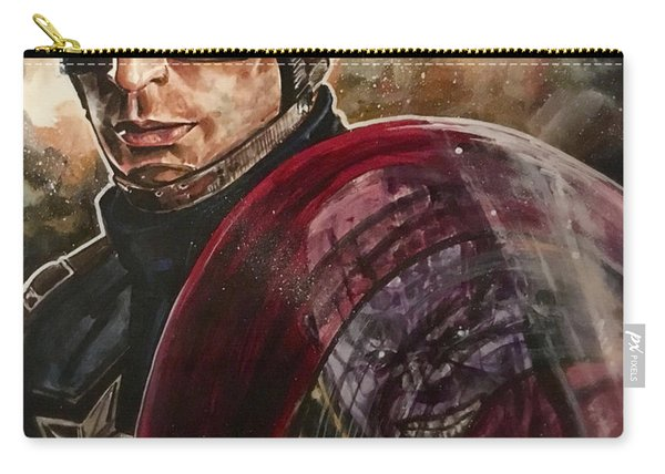 Carry-all Pouch featuring the painting Captain America by Joel Tesch
