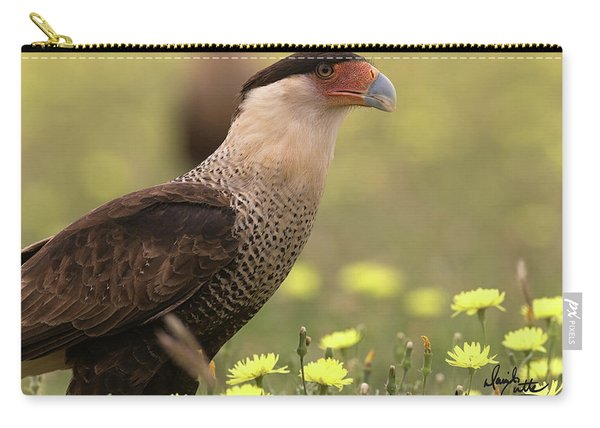 Caracara In Wildflowers Carry-all Pouch