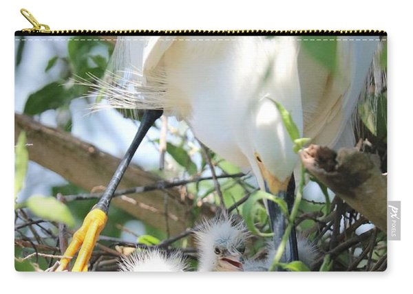 Careful Egret Mom With Chicks Carry-all Pouch
