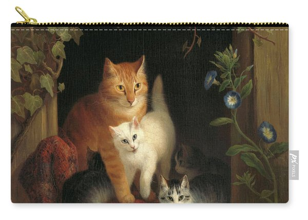 Cat With Kittens, 1844 Carry-all Pouch