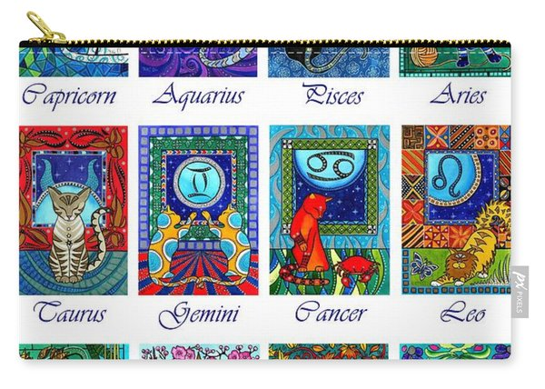 Cat Zodiac Astrological Signs Carry-all Pouch