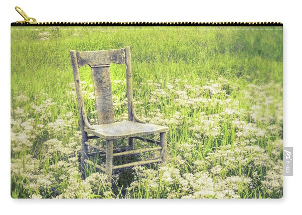 Chair In White Wildflowers Carry-all Pouch