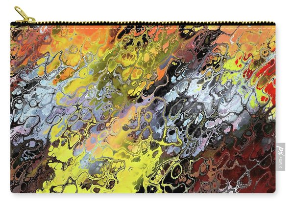 Carry-all Pouch featuring the digital art Chaos Abstraction Orange by Don Northup