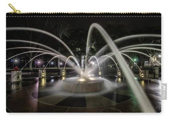 Charleston's Splash Fountain At Night Carry-all Pouch