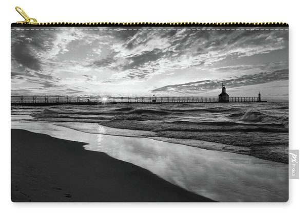 Chasing The Dream Black And White Carry-all Pouch