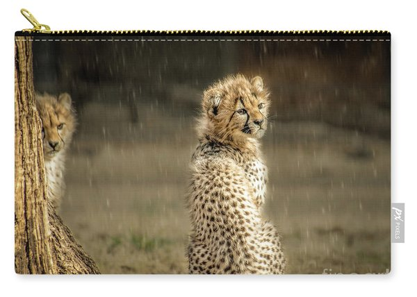 Cheetah Cubs And Rain 0168 Carry-all Pouch