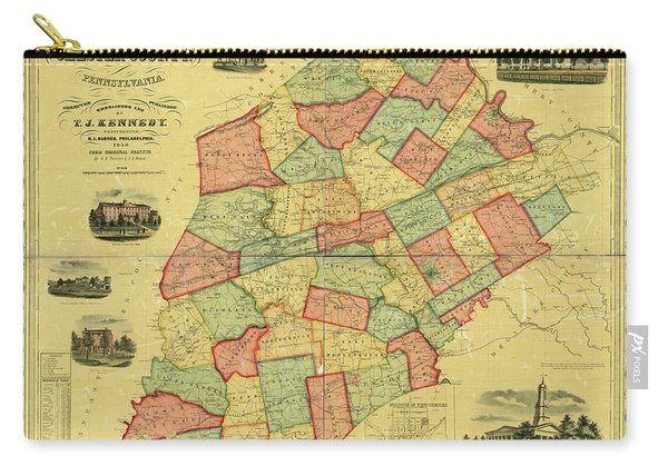 Chester County Pennsylvania Map 1856 Carry-all Pouch