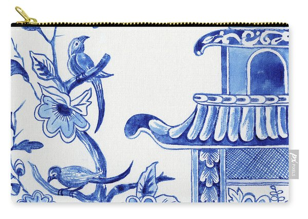 Chinoiserie Blue And White Birds In Flowering Tree And Pagoda Carry-all Pouch