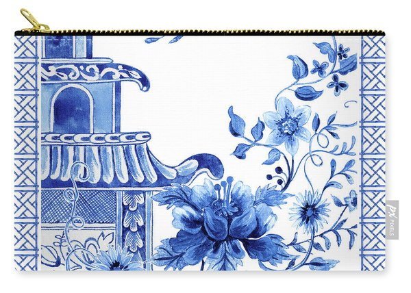 Chinoiserie Blue And White Pagoda With Stylized Flowers And Chinese Chippendale Border Carry-all Pouch