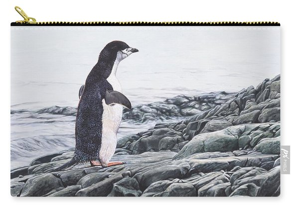 Carry-all Pouch featuring the painting Chinstrap Penguin On A Rock By Alan M Hunt by Alan M Hunt