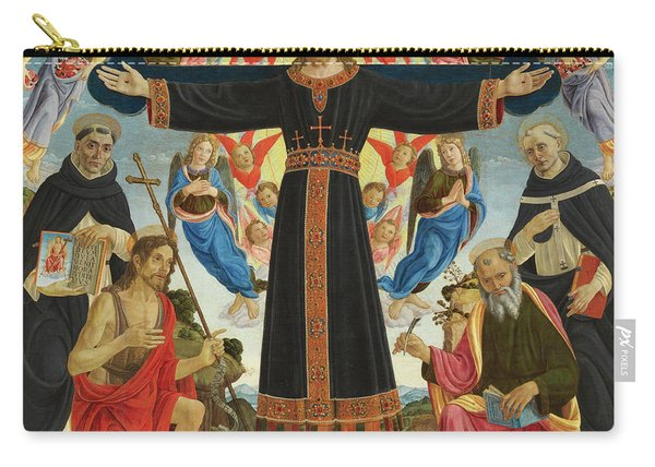 Christ On The Cross With Saints Vincent Ferrer, John The Baptist, Mark And Antoninus, 1495 Carry-all Pouch