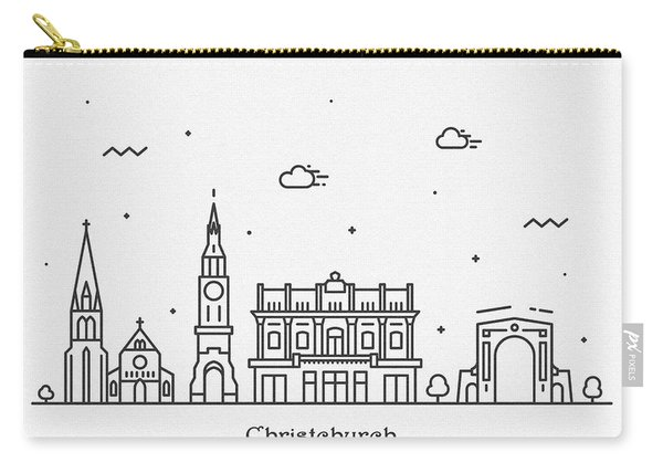 Christchurch Cityscape Travel Poster Carry-all Pouch
