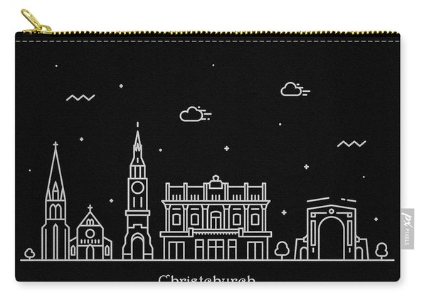 Christchurch Skyline Travel Poster Carry-all Pouch