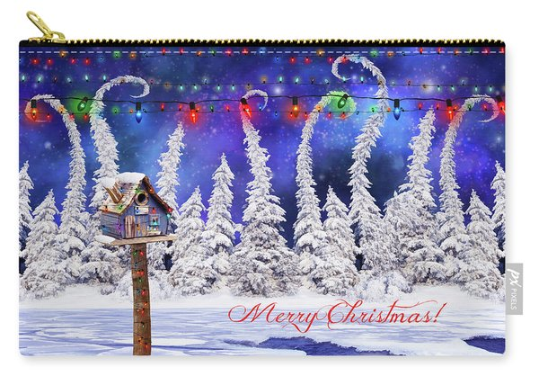 Christmas Card With Bird House Carry-all Pouch