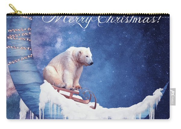 Christmas Card With Moon And Bear Carry-all Pouch