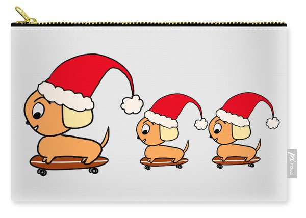 Christmas Dogs On Skateboards Carry-all Pouch
