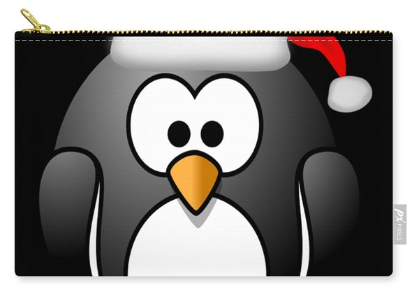 Carry-all Pouch featuring the digital art Christmas Santa Penguin by Flippin Sweet Gear