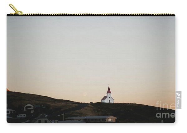 Church On Top Of A Hill And Under A Mountain, With The Moon In The Background. Carry-all Pouch