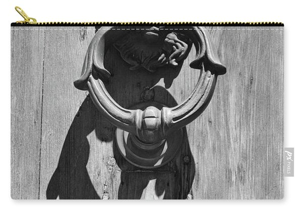 Classic Lion Head Brass Door Knocker With Shadow Rome Italy Black And White Carry-all Pouch