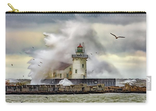 Cleveland Lighthouse Storm  Carry-all Pouch
