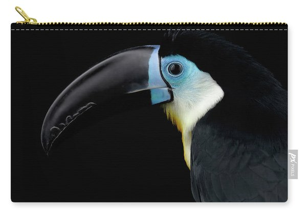 Carry-all Pouch featuring the photograph Close-up Channel-billed Toucan, Ramphastos Vitellinus, Isolated On Black by Sergey Taran