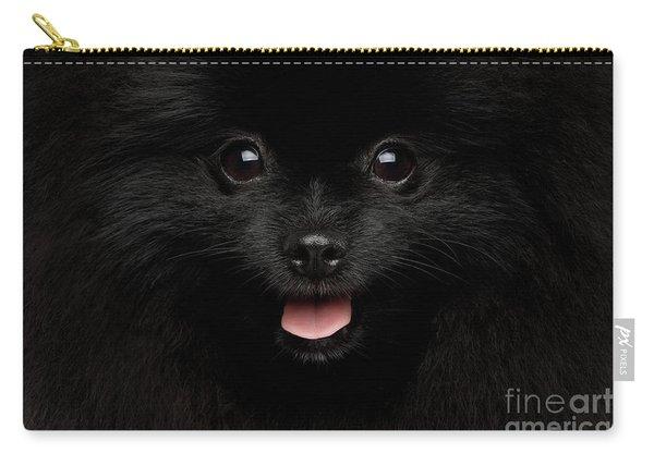 Close-up Portrait Of Happy Pomeranian Spitz Dog Carry-all Pouch