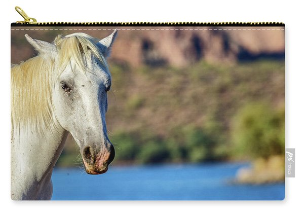 Closeup White Wild Horse With Lake Background Carry-all Pouch