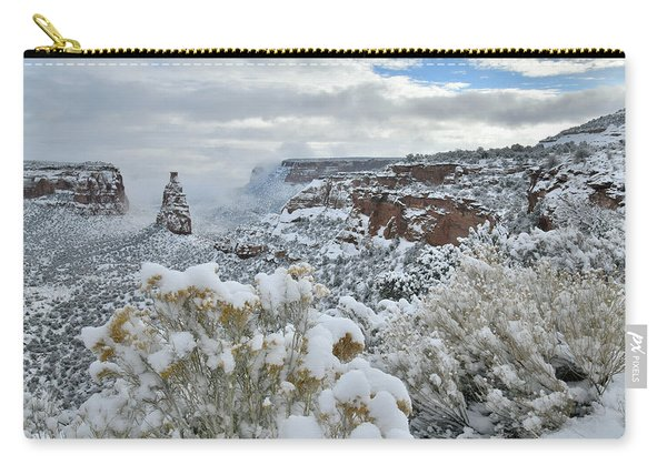 Clouds Break Over Snow Covered Independence Canyon Carry-all Pouch