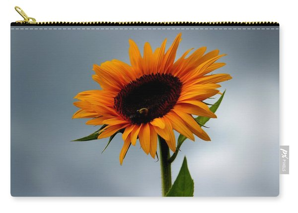 Carry-all Pouch featuring the photograph Cloudy Sunflower by Candice Trimble
