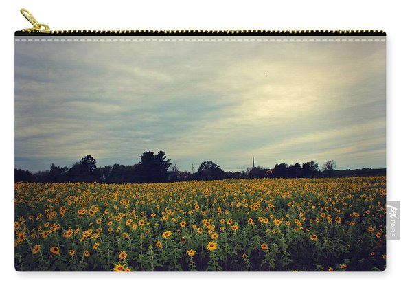 Carry-all Pouch featuring the photograph Cloudy Sunflowers by Candice Trimble