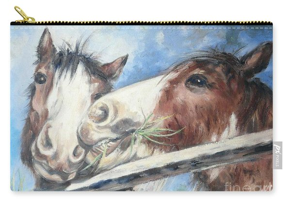 Carry-all Pouch featuring the painting Clydesdale Pair by Ryn Shell